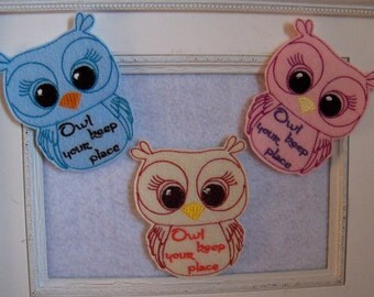 Owl  Bookmark Feltie, Oversize Feltie,  Could be Done With No Wording  ,Great to Create Bookmarks, Always Precut