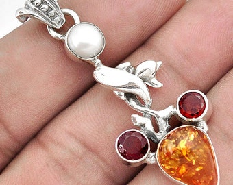Pendant 925 sterling silver Amber
