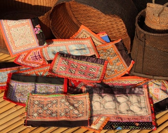 19 Hmong Embroidered Fabric Pieces