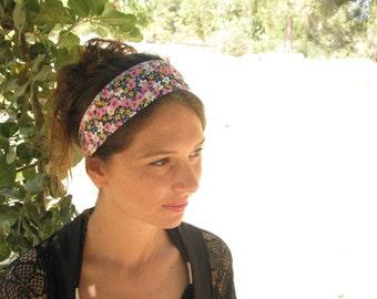 Floral hair wrap,hair covering,tichel,bandana,hair covering,womens wide headband,floral headband,extra wide headband,3 ways to wear headband