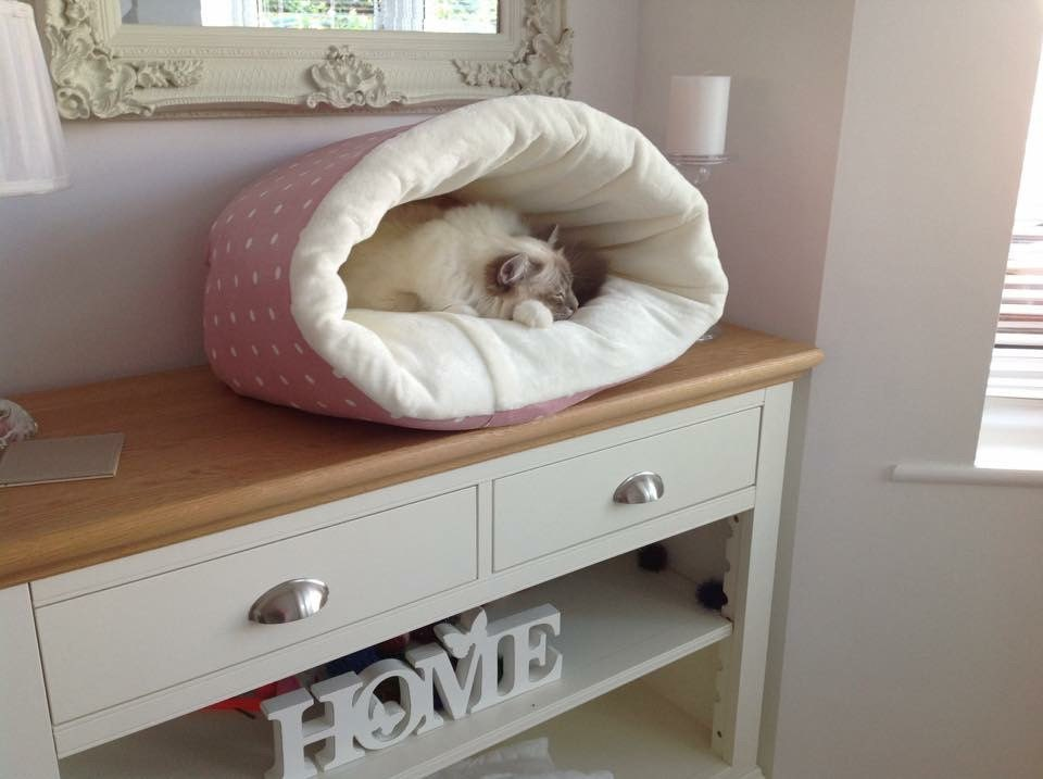 Round Snuggle Tunnel Pet Bed Cat Bed Small Dog Bed Hand Made