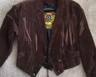 Vintage BAUMLER brown fringe suede jacket. Custom made Size M