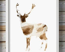 Deer Watercolor illustration - Giclee Print - Nursery animal - deer painting - Animal Watercolour - Brown spotted Deer art modern