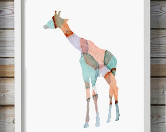 Giraffe Art - Watercolor Painting - Giclee Print - giraffe illustration - Nursery Art - Animal Painting - Giraffe painting - modern art