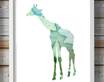 Giraffe Watercolor Painting - Giclee Print - Home Decor Wall Decor -  illustration - Blue green Nursery Art - Animal Painting - Giraffe Art