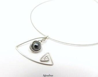 Stone Grey collar natural hematite stainless steel