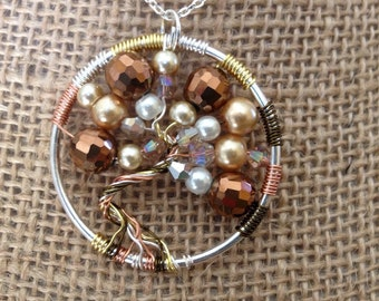 Pearl tree of life pendant