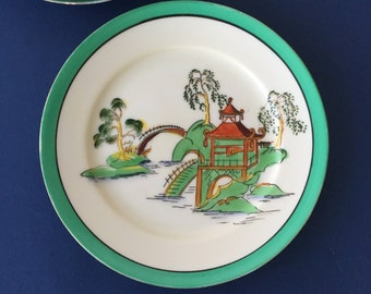 Vintage Noritake China Plates - Pagoda with Green Rim, set of 5 | chinoiserie plates, salad plates, dessert plates, hand painted, red mark