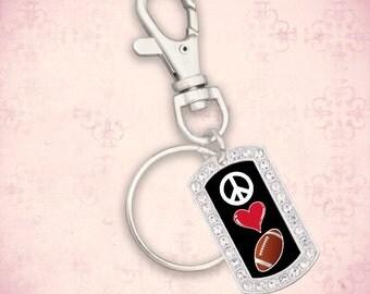 Peace Love Football Dogtag Keychain - 49666