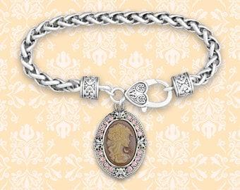 Pink Cameo Decorative Clasp Bracelet - 48854
