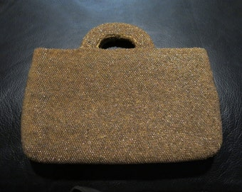 Vintage Golden Beaded Handbag Purse