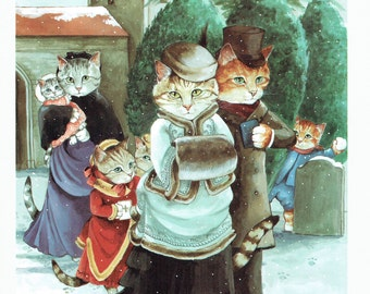Susan Herbert Cats Going to Church in Winter Humorous, Fine Art Print, Book Page, Illustration, Wall Decor, Cat Lovers VC17