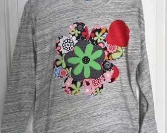 Girl's Size 8, Long Sleeve, Hi-Lo heather gray T-Shirt with flower and ladybug appliques