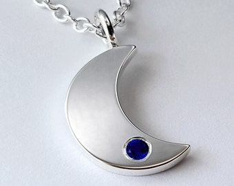 Blue Sapphire Moon Necklace Pendant In Sterling Silver - Sterling Silver Moon Necklace, Sterling Moon Necklace, Blue Moon Necklace Pendant