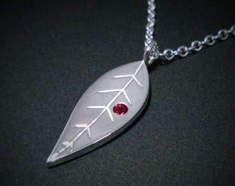 Ruby Leaf Necklace Pendant in Sterling Silver