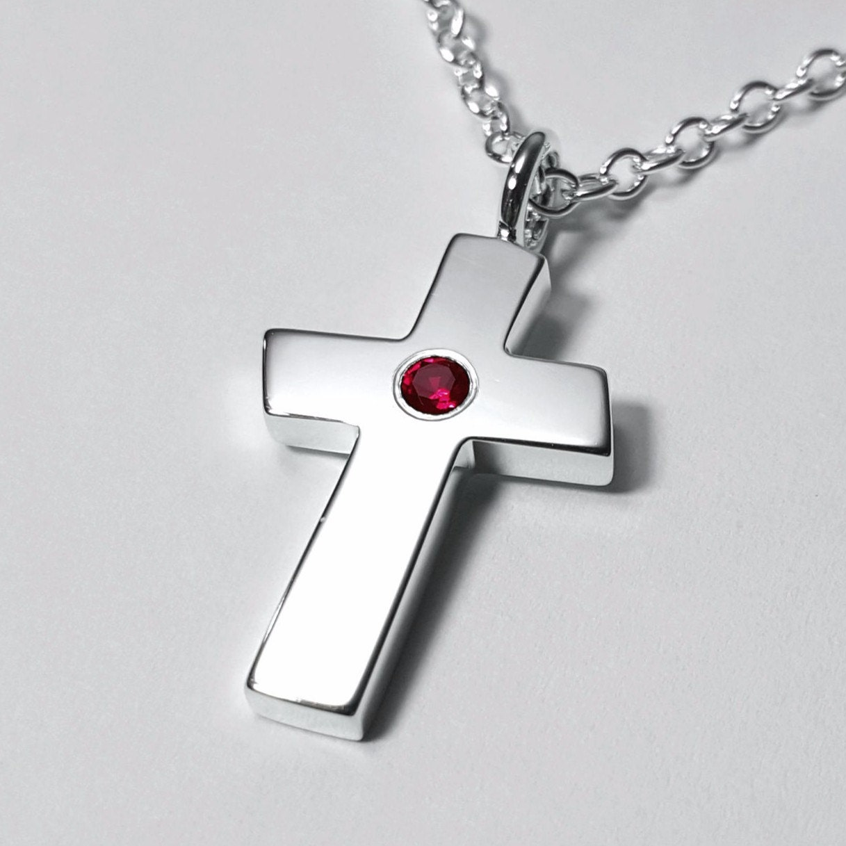large ruby cross pendant sterling silver cross necklace. Black Bedroom Furniture Sets. Home Design Ideas