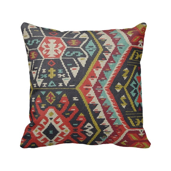 Fiesta Aztec Zippered Throw Pillow Cover by Primal Vogue