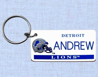 Personalized Detroit Lions keychain - key ring