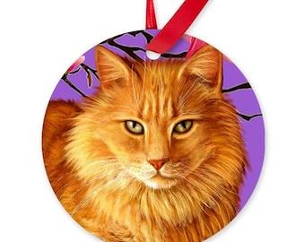 Long Haired ORANGE TABBY CAT Art Pet Porcelain Ornament Round shape