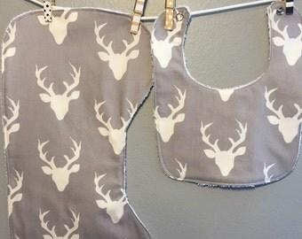 Grey Buck Baby Gift Set Bib, Burp Cloth