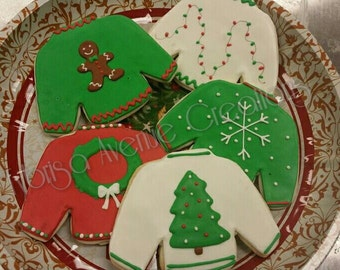 12 Ugly Christmas Sweater Sugar Cookies - Christmas Sugar Cookies - Christmas Party Cookie Favors - Ugly Christmas Sweater Party