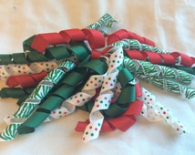Red, Green and White Korker Ribbon Christmas/ Holiday Pony O attached to Red Elastic Ponytail Holders/ Elastic Pigtail Holders