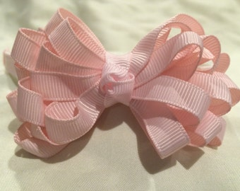 Light Pink Grosgrain Ribbon Ribbon Loop attached to Ribbon Lined Headband