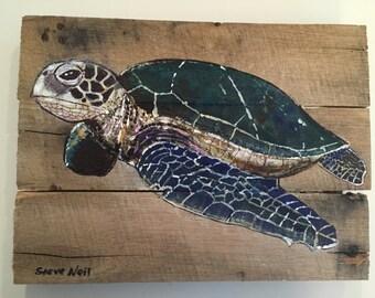 miniature loggerhead painting on pallet wood