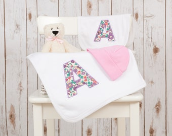 Personalised Baby Gift Set - Liberty Print Letter Set featuring a blanket, bib, hat and soft teddy bear toy - unique new baby present!