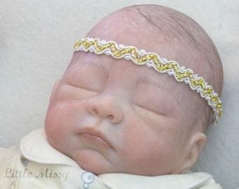 Newborn Baby Headband, White Lace Headband, White & Gold Baby Headband, Halo Headband, Baptism Headband, Photo Prop, White Halo Headband
