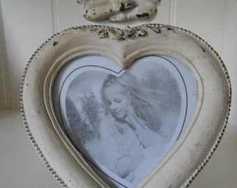 Shabby Chic Heart Frame Antiqued White Wood with Angel