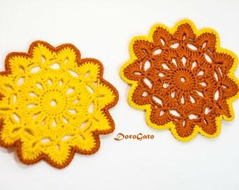 Doily Coaster Set, multicolor crochet Coasters, Drink Coasters, Handmade Coasters, Cottage Style Decor, Rustic Decor (Set of 2)
