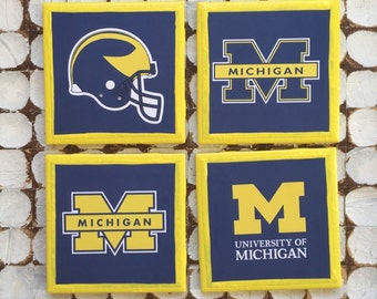 COASTERS!!!! GO BLUE! Set of university of Michigan coasters with yellow trim