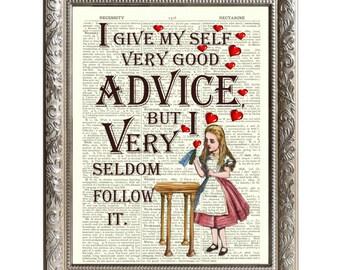 Vintage Art Print Alice in Wonderland Original Book Page Good Advice -D-AIW-11