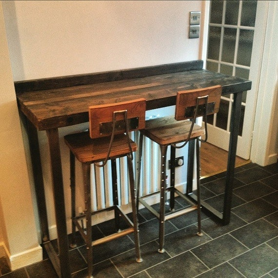 Reclaimed Industrial 4 Seater Chic Tall Poseur Table.Wood & Metal Desk ...
