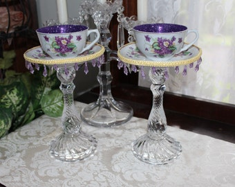 Pair of Vintage Purple Violet Tea Cup Centerpieces, Wonderland Mad Hatter Tea Party Teacup Candle Holders