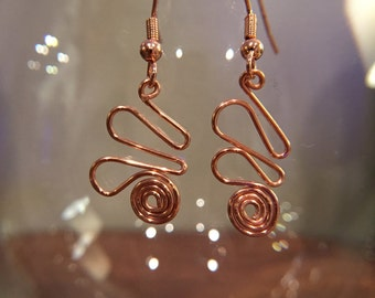 Copper Swirly Wire Wrapped Dangling Earrings