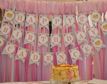 Pancakes and Pajamas Happy Birthday Banner