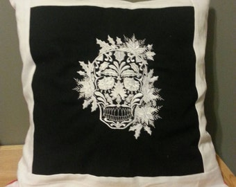 Christmas sugar skull pillow cover  day of the dead  handmade throw pillow