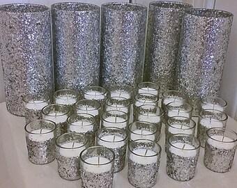 Silver Wedding Centerpiece Set, Bridal Shower Decorations, Baby shower centerpieces, baby shower decorations, wedding decorations, votive