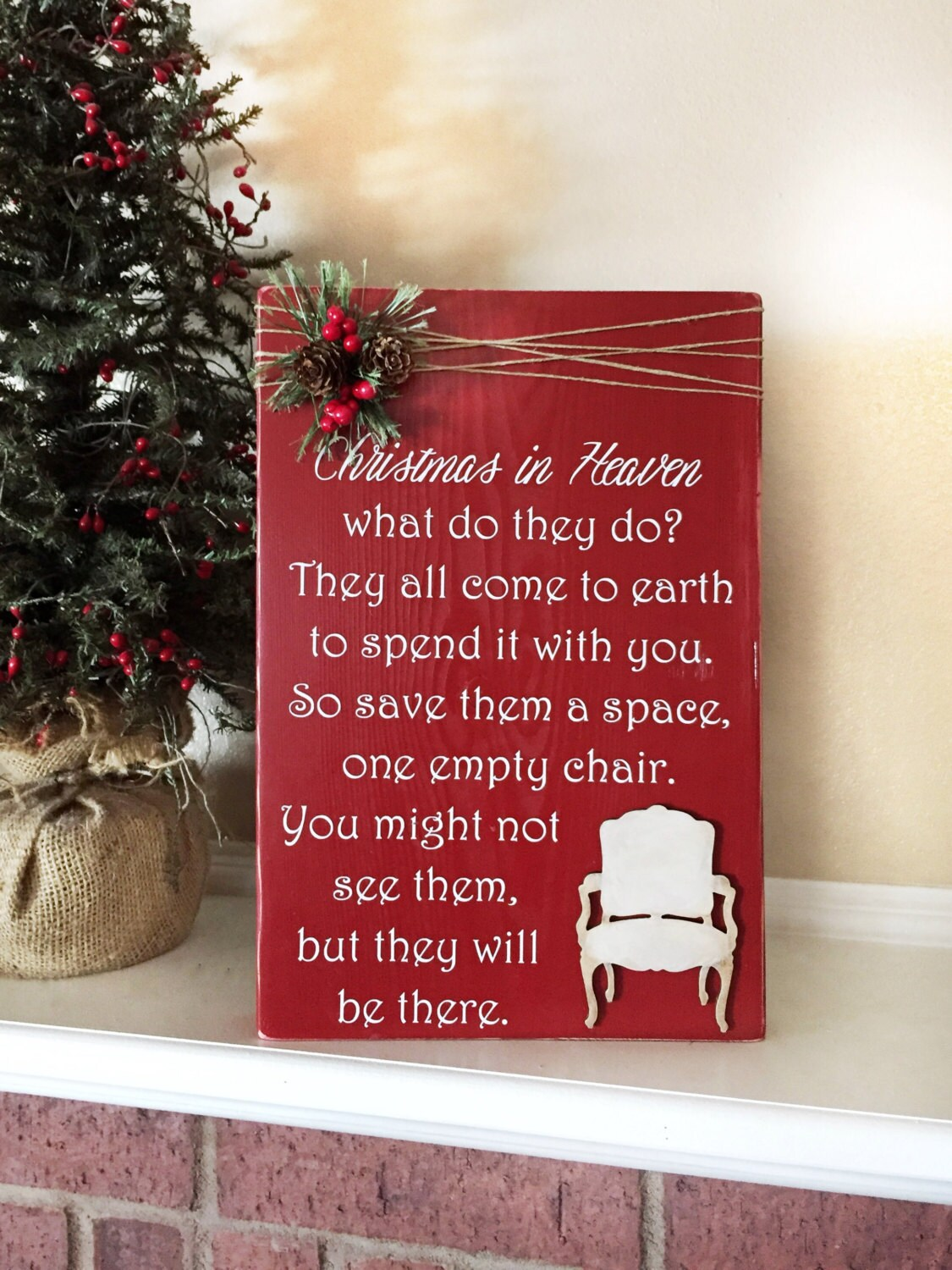 Christmas in heaven poem with chair decorations
