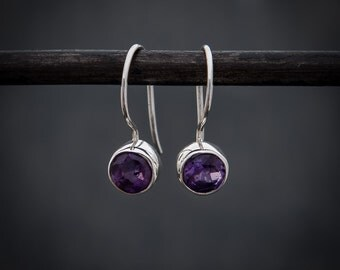 Amethyst Earrings, Amethyst Drops, Silver Drops, Semi Precious Stone, Gemstone Earrings, February Birthstone, Sterling Silver, 925