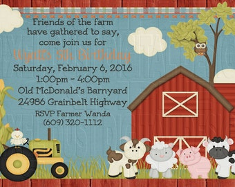 Print Your Own * E-I-E-I-O Farm Boy or Girl Birthday Invitation