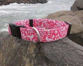 Pink and White Birdie Dog Collar