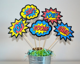 Superhero Action Word Picks Set of 5 (NOW Double-sided)