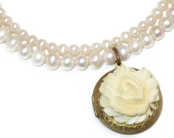 pearl and locket necklace, double strand pearl necklace, flower locket necklace, freshwater pearl necklace, bridal necklace, wedding jewelry