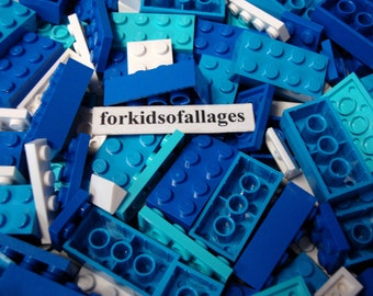 50 Lego Bricks and Plates in Blue, Azure, White - Sea/Ocean/Water Colors - Bulk Parts & Pieces Lot