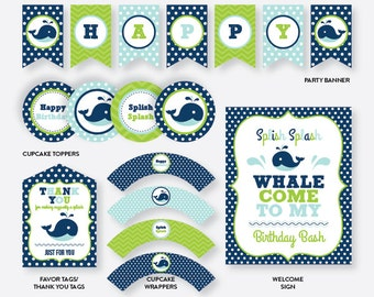 Instant Download, Whale Party Package, Whale Birthday Package, Whale Party Pack, Whale Birthday Pack, Whale Party Printables, Blue (PKB.10)