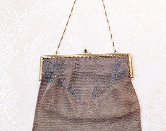 Fabulous 1920s Metal Mesh Evening Bag Purse Antique Art Deco Vintage Wedding Occassion
