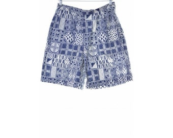 Lacoste Womens Shorts Size 38 W30 Blue Check Cotton